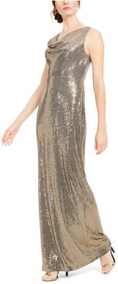 Calvin Klein Sequined Cowlneck Gown