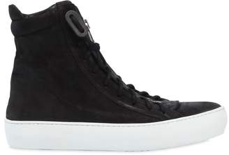 Zip-Up Waxed Leather High Top Sneakers
