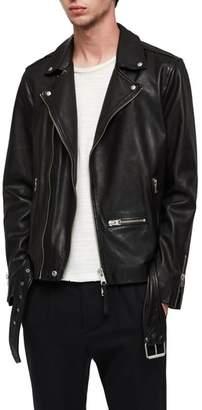 AllSaints Wick Slim Fit Leather Biker Jacket