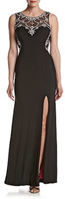 Betsy & Adam Women's Beaded Illusion Front and Back Gown $250 thestylecure.com