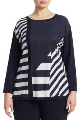 Marina Rinaldi Marina Rinaldi, Plus Size Broken Striped Pullover