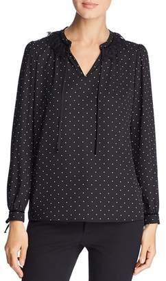 Karl Lagerfeld Paris Embellished Dot-Print Top