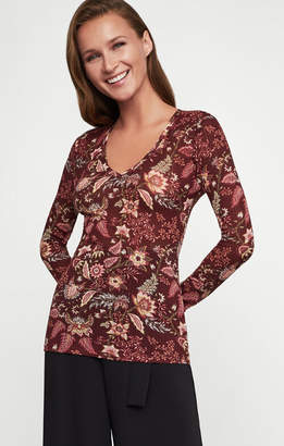 BCBGMAXAZRIA Floral Toile Knit Top
