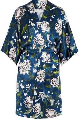 ADAM by Adam Lippes Belted Floral-Print Silk-Satin Kimono Jacket