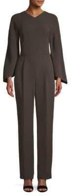 Valentino Silk & Wool Long Sleeve Jumpsuit