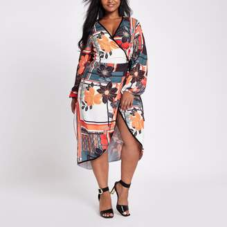 River Island Womens Plus Red floral print wrap front dress