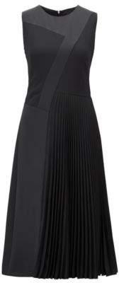 BOSS Hugo Patchwork midi dress in crepe plisse skirt detail 2 Black