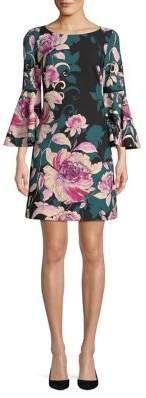 Eliza J Floral Bell-Sleeve Dress