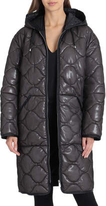 AVEC LES FILLES Hooded Zip-Up Quilted Puffer Coat