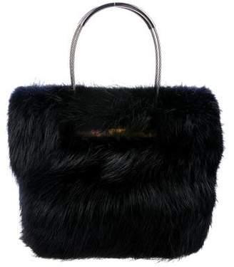 Balenciaga Fur Cable Shopper Tote