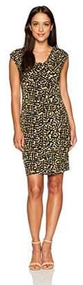 Kasper Women's Size Cap Sleeve Splatter Printed Ity Dress