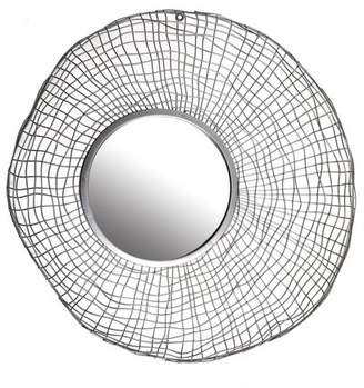 Patton Wall Decor Silver Wire Nest Round Wall Accent Mirror