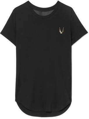 Lucas Hugh Kubrick Mesh-paneled Stretch T-shirt - Black