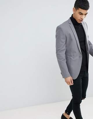 Asos DESIGN Super Skinny Blazer In Charcoal Cotton