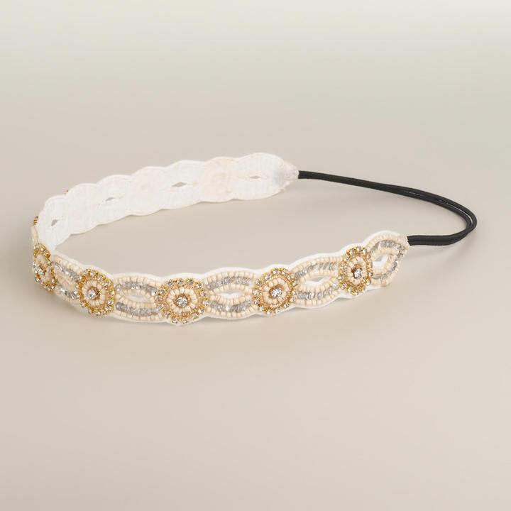 Cost Plus World Market Ivory Rhinestone Suede Headband