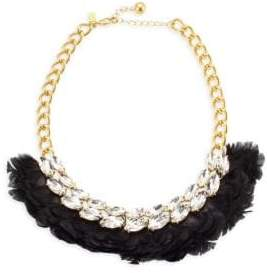 Kate Spade In Full Feather 12K Goldplated& Crystal Feather Bib Necklace