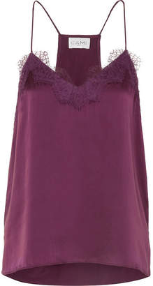 CAMI NYC The Racer Lace-trimmed Silk-charmeuse Camisole - Burgundy