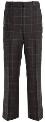 Gucci Heart Fil Coupe Checked Wool Blend Trousers - Womens - Grey Multi