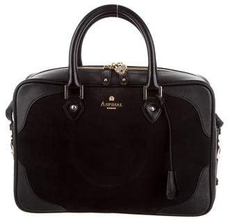 Aspinal of London Leather-Trimmed Suede Satchel