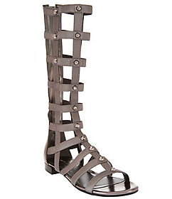As Is Marc Fisher Leather Stretch Studded Gladiator Sandals - Lexxi