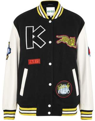 Kenzo Badge-appliqued Wool-blend Bomber Jacket