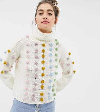 Oneon OneOn hand knitted multicoloured pom pom jumper