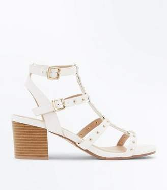 f9f8a1ef7 New Look White Studded Block Heel Gladiator Sandals