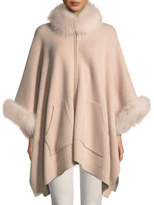 Sofia Cashmere Double-Face Cashmere Zip-Front Poncho w/ Fur Trim