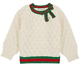 Gucci Kids' Bow-Detailed Textured-Knit Wool Sweater - Cream
