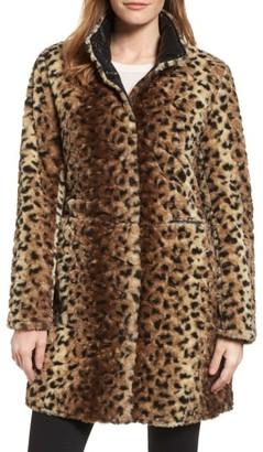 Women's Via Spiga Reversible Faux Leopard Fur Coat $180 thestylecure.com