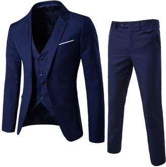 3.1 Phillip Lim UNINUKOO Men's One Botton Slim Fit Casual Suit Jackets Waistcoat&Pants 41 (Label Size 5XL)