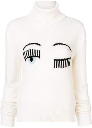 Chiara Ferragni Blinking Eye roll neck sweater