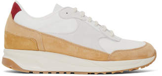 Common Projects Tan and White Suede New Track Sneakers
