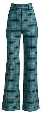 Proenza Schouler Women's High-Rise Plaid Wool Trousers