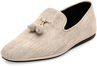 Salvatore Ferragamo Fabric Slip-On with Tassels, Chalk/Ecru $560 thestylecure.com
