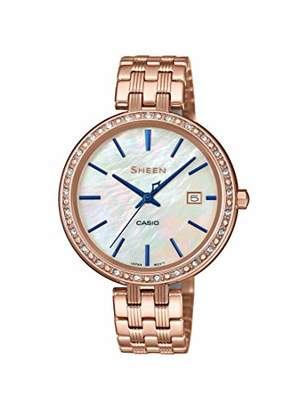 Casio Womens Analogue Quartz Watch with Stainless Steel Strap SHE-4052PG-2AUEF