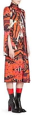 Alexander McQueen Women's Abstract Tie Neck Midi Dress