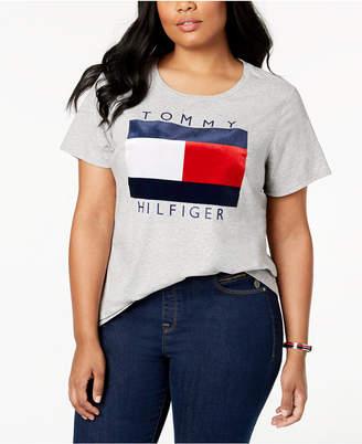 Tommy Hilfiger Plus Size Velvet-Flocked Logo T-Shirt