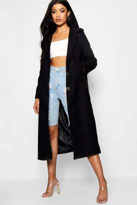boohoo Olivia Collared Wool Look Coat With Lining