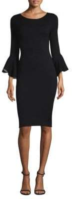 Milly Contrast Bell-Sleeve Sheath Dress