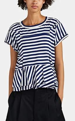 Comme des Garcons Women's Striped Cotton Peplum T-Shirt - Navy