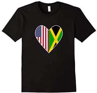 Half Jamaica Flag Half American Flag Love Heart T-Shirt