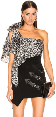Redemption One Shoulder Leo Ruched Top in Grey Leopard Print | FWRD