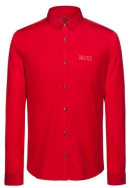 HUGO Boss Extra-slim-fit cotton shirt reverse logo XXL Red
