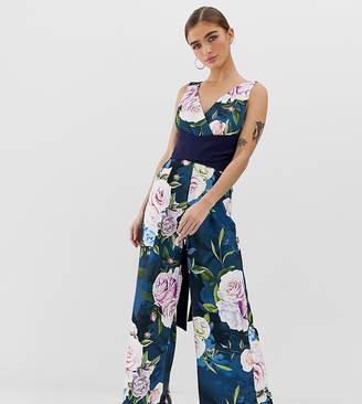 f697b774f8 Paper Dolls Petite culotte wide leg jumpsuit with tie waist in floral print