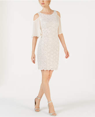 Connected Lace Cold-Shoulder Sheath Dress