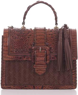 Brahmin Medium Francine Croc Embossed & Woven Leather Satchel