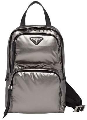 Prada One-Shoulder Laminated Fabric Backpack
