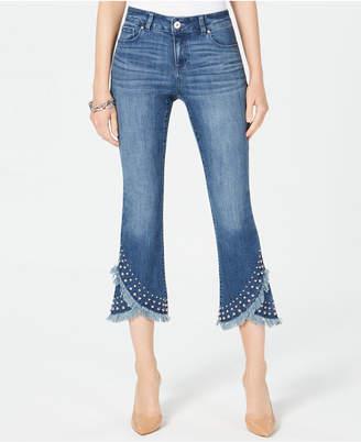 INC International Concepts I.n.c. Cropped Studded Tulip-Hem Jeans