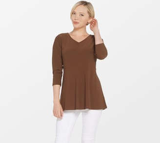 Linea By Louis Dell'olio by Louis Dell'Olio Moss Crepe Top with Peplum Detail